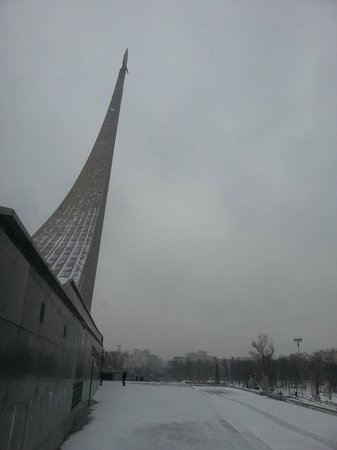 The Exhibition of Achievements of National Economy (VDNKh): Monument to the Conquerors of Space outside entrance to Park