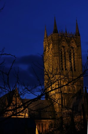 The Lincoln Hotel: View of the cathedral at night, from the balcony.