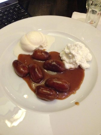 Voila: Warm dates and THE BEST whiskey cream, cinnamon, and caramel sauce