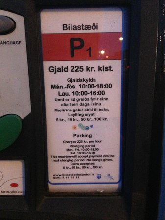 Radisson Blu 1919 Hotel, Reykjavik: Parking charges