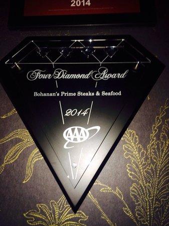 Bohanan's Prime Steak and Seafood : Four diamond award 2014