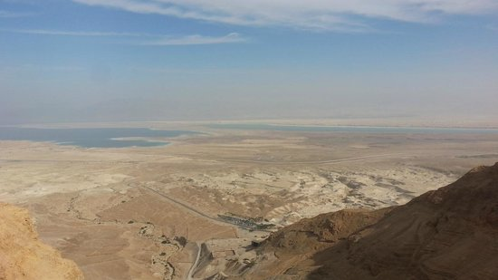 Green Olive Tours: View from Masada across Dead Sea into Jordan