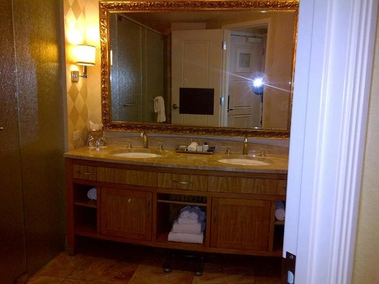 trump international hotel las vegas vanity in bathroom which also had a large shower