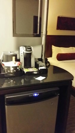 Matrix Hotel: Keurig & fridge