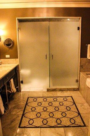Waldorf Astoria Chicago: frosted doors in bathroom