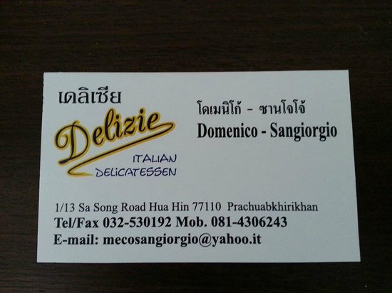 Delizie : Biglietto da visita