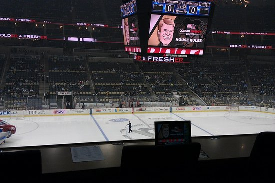 PPG Paints Arena: view of rink from cap'n morgan club