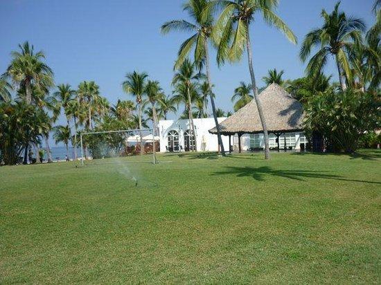 Club Med Ixtapa Pacific: Soccer field and massage hut.