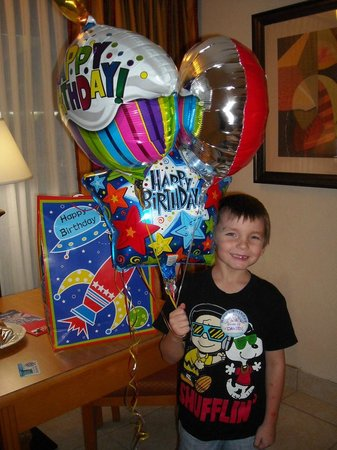 Champions World Resort: Great welcome birthday gift from the staff for my son!!!!