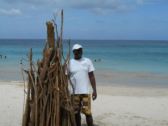 Mount Cinnamon Resort & Beach Club: Cedric Ready for Friday Night Beach Bonfire