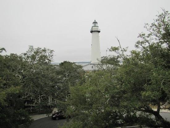 Saint Simons Inn by the Lighthouse: The Saint Simons Lighthouse from our balcony of the Smoot Suite