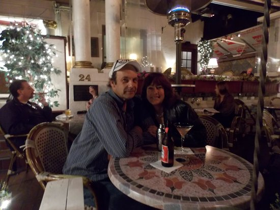Casablanca Inn on the Bay : My husband & I enjoying our drinks at the Tini Martini Bar