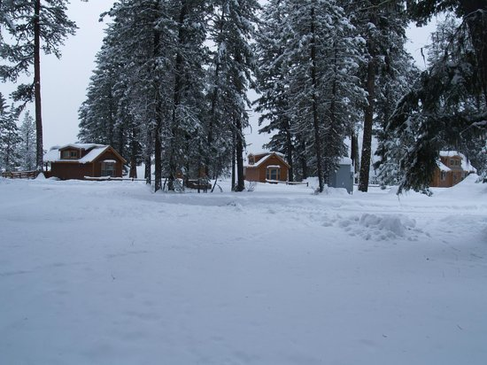 Ponderosa State Park: Winter in the park by the Deluxe Cabins
