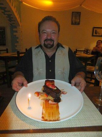 Marejada Baja Bistro & Barra : Birthday chocolate cake with fruit!