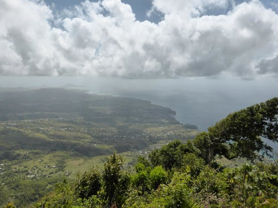 Pitons: View from top of Gros Piton down the island
