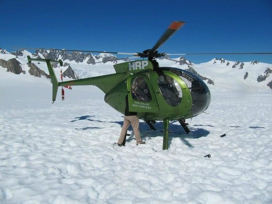 Glacier Country Scenic Flights: just landed on the icefield
