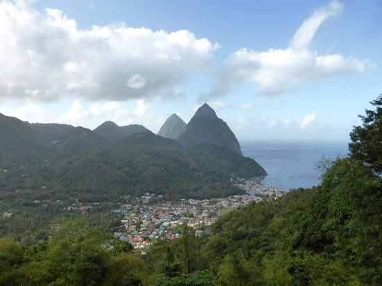 View of Pitons & Soufriere on the way to climbing Gros Piton