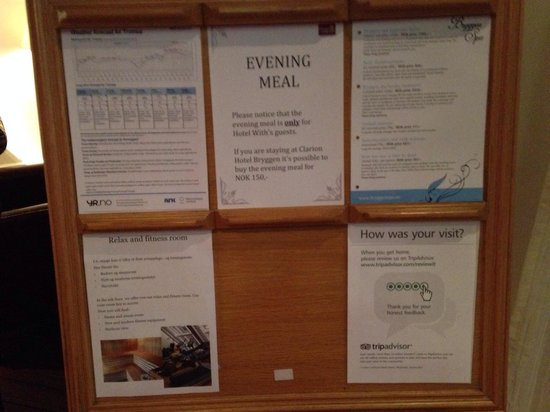 Clarion Collection Hotel With: The hotel's notice board