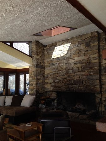 Duncan House at Polymath Park Resort: Fireplace in AM light