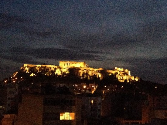 Arion Athens Hotel : The balcony view by night