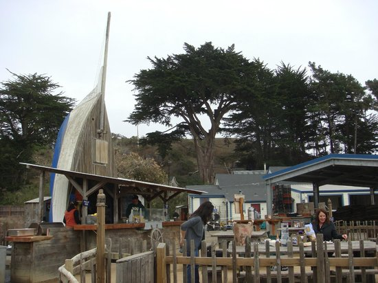 Hog Island Oyster Company: Raw bar and outdoor seating area