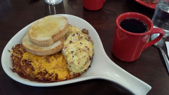 Stacy's Kitchen: Meat lovers omelet and loaded hash browns with coffee