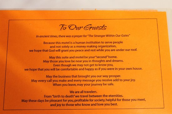 Ann's Motel: sign left in room for guests