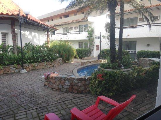 LD Palm Beach : Vista al Jacuzzi desde la habitacion.