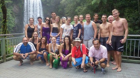 On the Wallaby Lodge: Group shot at Milla Milla falls