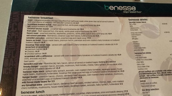 Benesse Bunbury: Breakfast menu