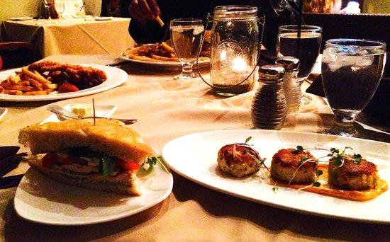 Drakes Sonoma Coast Kitchen: crab cake, chicken sandwich, fried chicken kids