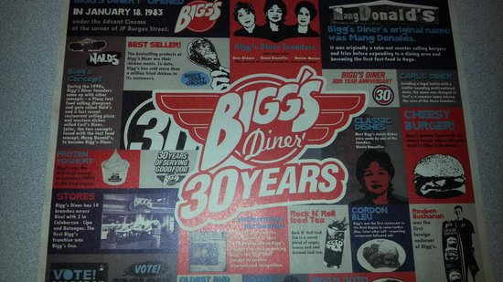 Bigg's Diner: placemats