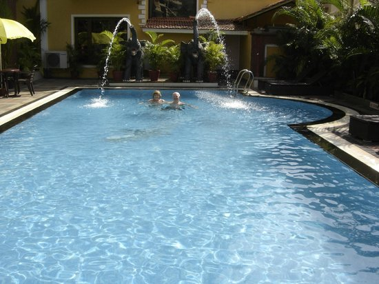 De Alturas Resort : The pool area with elephants spouting water