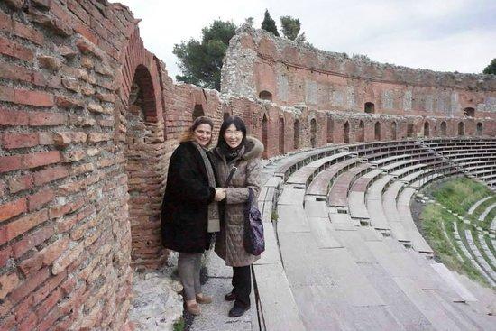 Taormina Tourist Service - Tours : Greek Theater in Taormina with my mom.