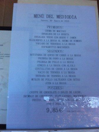 Vic Braseria: menù del giorno