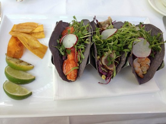 The Palmetto Cafe: Seafood tacos.  Lobster (left) Tuna (middle) Shrimp (right)