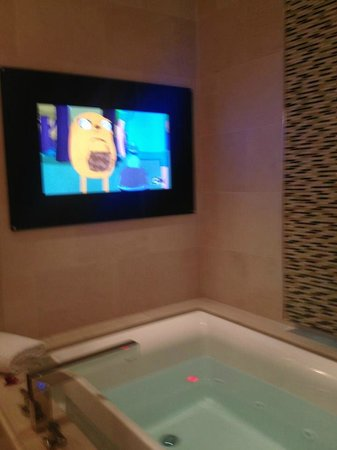 Skylofts at MGM Grand : Bathroom tv