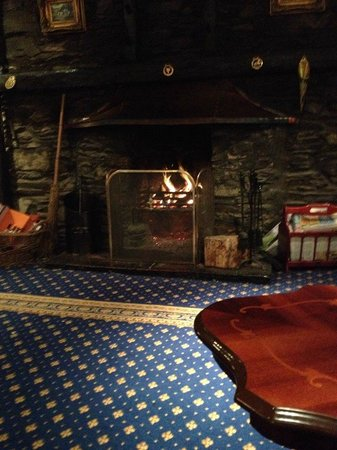 Damson Dene Hotel : The log fire in the reception area