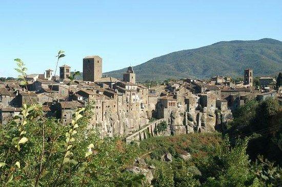 Borgo di Vitorchiano : Vitorchiano con sullo sfondo il Monte Cimino