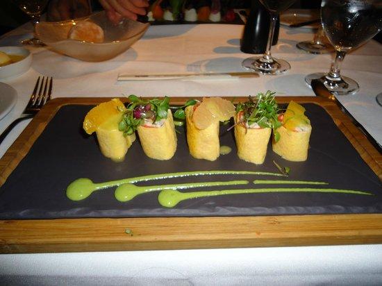 Araxi Restaurant & Oyster Bar: Starter - Dungeness Crab Roll in Egg Crepe