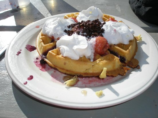 Crystal Hut: World Famous waffles (fully loaded of course)