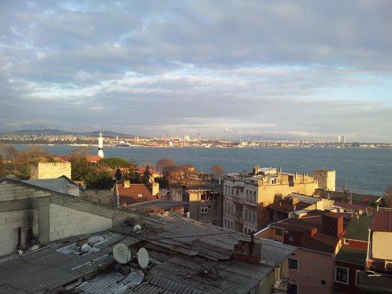 Metropolis Hostel: View from top floor breakfast/community room.