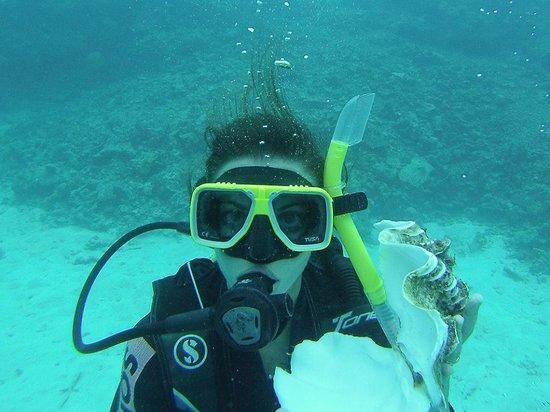 Reef Experience : Mia moglie in immersione guidata..conciglione toccato solo per la foto!