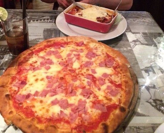 Little Italy: Ham pizza and lasagna