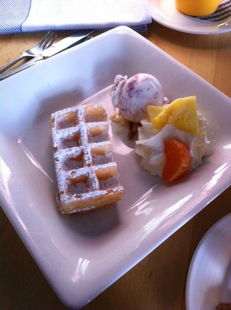 Restaurant de Dagvisser: The waffle was actually half a waffle but was delicious