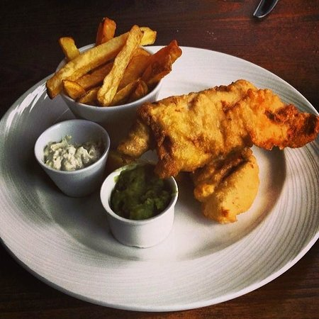 Ingram Wynd: Beer battered coley with hand cut chips, mushy peas and tartar sauce