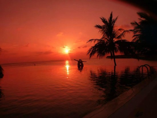 Vilamendhoo Island Resort & Spa: Sunset at the infinity pool
