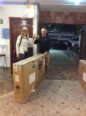 Hotel Alux: Arriving with our bike boxes.