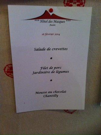Hotel Des Masques: voila notre repas