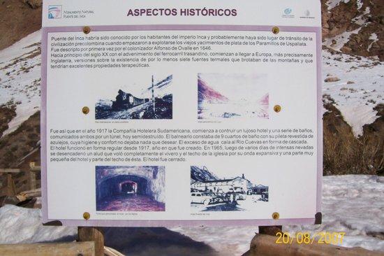 Puente del Inca : Placa....informaçoes historicas